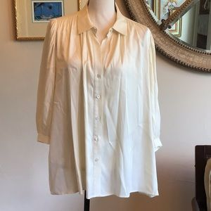 Theory silk blouse in cream